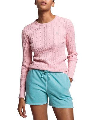 Gant Stretch Cotton Cable C-Neck Preppy Pink