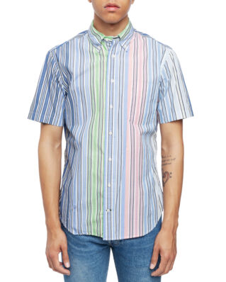 Gitman Vintage Short Sleeve Button Down Blue Multi Stripe
