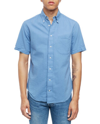 Gitman Vintage Short Sleeve Button Down Blue Seersucker