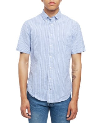 Gitman Vintage Short Sleeve Button Down Blue Stripe Seersucker