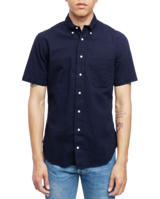 Gitman Vintage Short Sleeve Button Down Navy Seersucker