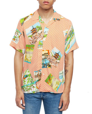 "Gitman Vintage Short Sleeve Camp Shirt Orange ""Hokusai"""