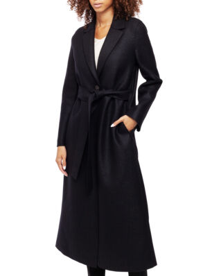 Harris Wharf London Women Long Belted S.B. Coat Pressed Wool & Polaire Black