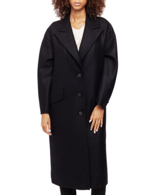 Harris Wharf London Women Oversized Great Coat Pressed Wool & Polaire Black