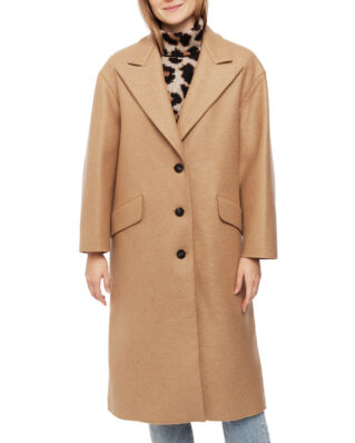Harris Wharf London Women Oversized Great Coat Pressed Wool & Polaire Tan