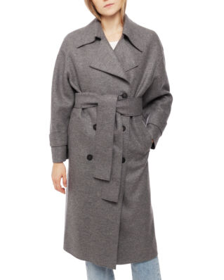 Harris Wharf London Women Oversized Trench Coat Pressed Wool Grey Mouline