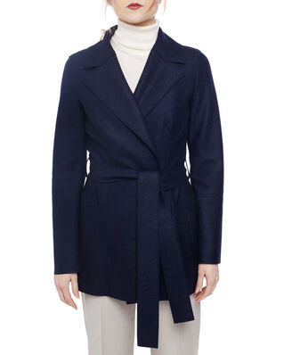 Harris Wharf London Women belted duster jacket Light Pressed Wool Navy Blue