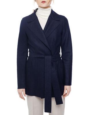 Harris Wharf London Women belted duster jacket Light Pressed Wool Navy Blue