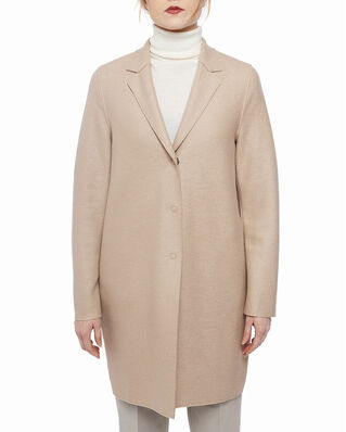 Harris Wharf London Women bicolour cocoon coat Light Pressed Wool Sand