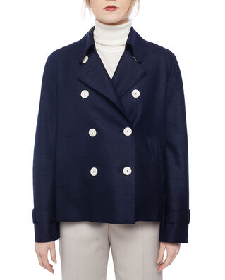 Harris Wharf London Women cropped trench Light Pressed Wool Navy Blue