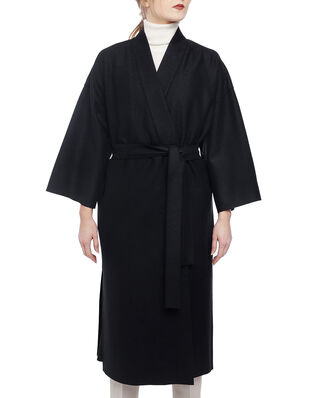 Harris Wharf London Women kimono coat with vents Light Pressed Wool Black