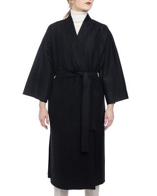 Harris Wharf London Women kimono coat with vents Light Pressed Wool Black