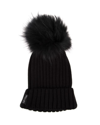 Hollies Pom Pom Classic Hat Black/Black Raccoon
