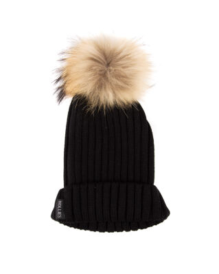 Hollies Pom Pom Classic Hat Black/Natural Raccoon