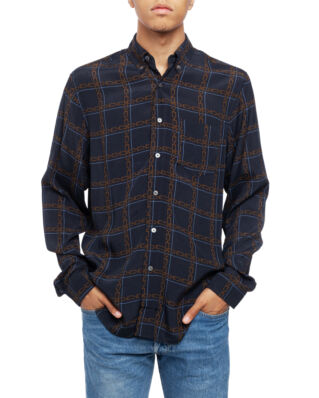 Hope Button Shirt Dk Blue Chain Print