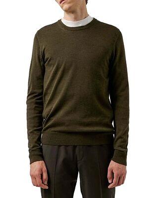 J.Lindeberg Lyle Merino Crew Neck Sweater Seaweed Green
