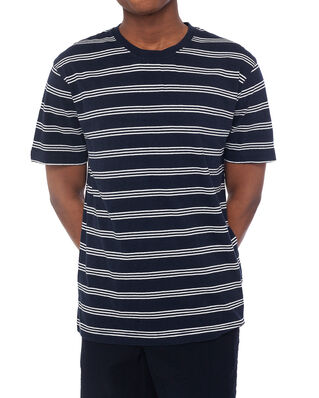 Norse Projects Johannes Cotton Linen Stripe Dark Navy