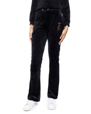 Juicy Couture Junior Juicy Luxe Velour Open Leg Jogger Jet Black
