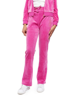 Juicy Couture Junior Juicy Luxe Velour Open Leg Jogger Raspberry Rose