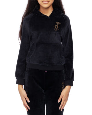 Juicy Couture Junior Velour Hoodie Jet Black