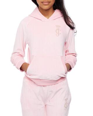 Juicy Couture Junior Velour Hoodie Rose Quartz
