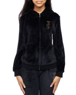 Juicy Couture Junior Velour Zip Through Jet Black