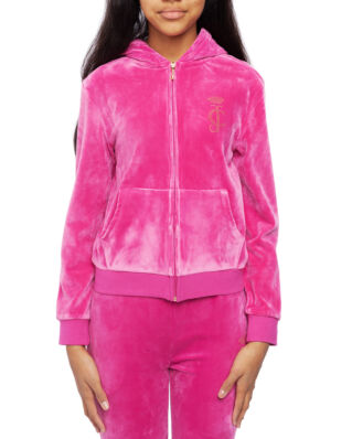 Juicy Couture Junior Velour Zip Through Raspberry Rose