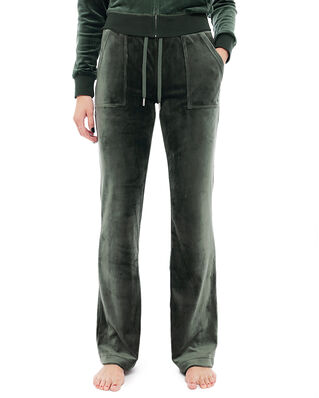 Juicy Couture Del Ray Classic Velour Pant Pocket Design Dark Moss