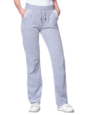 Juicy Couture Del Ray Classic Velour Pant Pocket Design Light Grey Marl