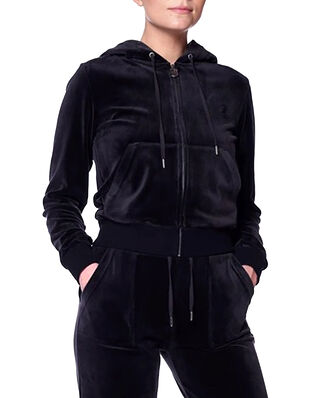 Juicy Couture Robertson Classic Velour Zip Through Hoodie Black
