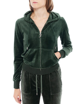 Juicy Couture Robertson Classic Velour Zip Through Hoodie Dark Moss