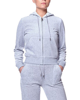 Juicy Couture Robertson Classic Velour Zip Through Hoodie Light Grey Marl