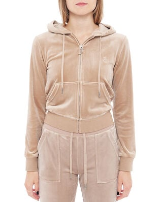 Juicy Couture Robertson Classic Velour Zip Through Hoodie Warm Taupe