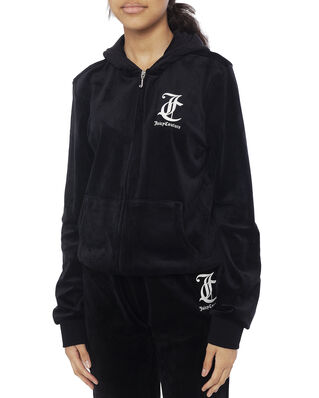 Juicy Couture Junior Juicy Velour Zip Through Jet Black