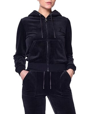 Juicy Couture Robertson Luxe Velour Zip Through Hoodie Black