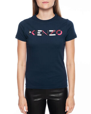 Kenzo Women's Knitted Cotton T-Shirt Navy Blue
