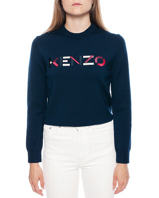 Kenzo Women's Knitted Wool Pullover Navy Blue