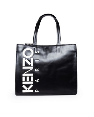 Kenzo Leather Kenzo Logo Tote Bag Black