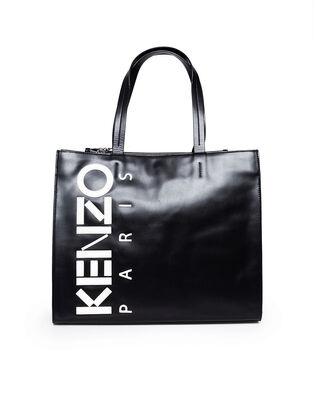 Kenzo Leather Kenzo Logo Tote Bag Black