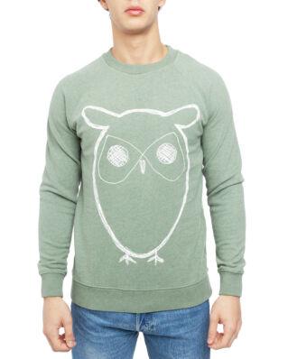Knowledge Cotton Apparel Sweat Shirt With Owl Print Gots/Vegan Green Melange