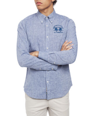La Martina Man Shirt L/S Cotton Linen Navy