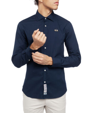 La Martina Man Shirt L/S Poplin Stretch Navy