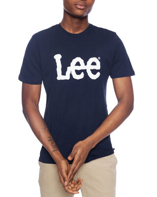 Lee Wobbly Logo Tee Navy Drop