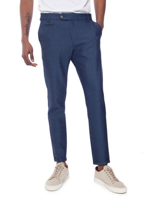 Les Deux Como Herringbone Suit Pants Dark Navy