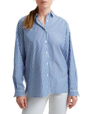 Lexington Edith Poplin Shirt Medium Blue/White Stripe