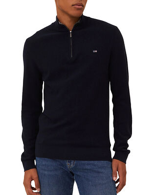 Lexington Clay Organic Cotton Half Zip Sweater Dark Blue