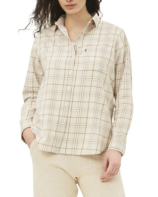 Lexington Isa Check Organic Cotton Flannel Shirt Beige Multi Check