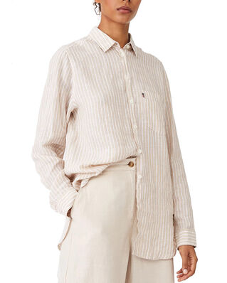 Lexington Isa Linen Shirt Beige/White Stripe