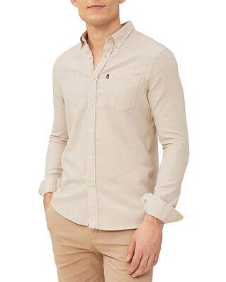 Lexington Peter Lt Flannel Shirt Light Beige Melange