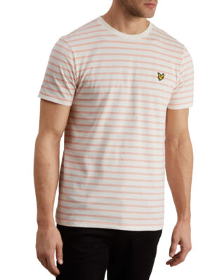 Lyle & Scott Breton Stripe T-shirt Snow White/Coral Way